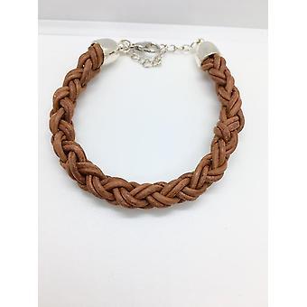 Round Brown Braided Leather Bracelet