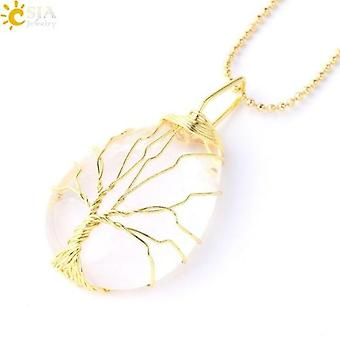 Csja Tree Of Life Necklace Natural Stone Pendant