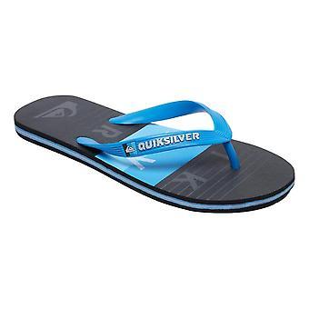 Quiksilver Molokai Word Block Flip Flops - Blue / Black / Blue