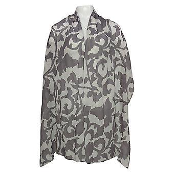 Isaac Mizrahi Live! floral trykt chiffon sjal skjerf grå A390916
