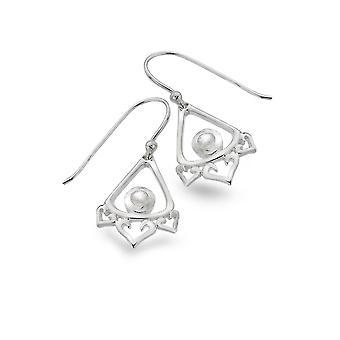 Sterling Silver Earrings - Origins Lotus Petal + Moonstone + Trinity