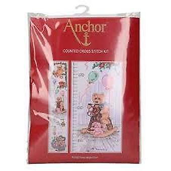 Anchor Counted Cross Stitched Kit PCE962 Teddy Height Chart New 78 x 14cm