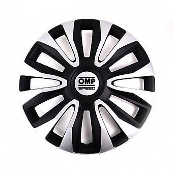 Hubcap OMP Magnum Speed Sort Sølv 16> (4 uds)