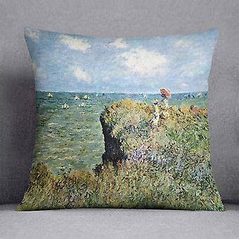 Walk on the cliffs by monet cushion