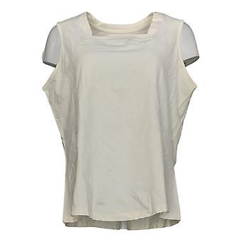 Denim & Co. Women's Top Plus Essentials Square Neck Tank White A379771