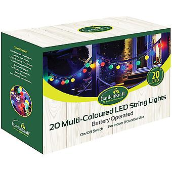 20 Battery Operated Multi-Coloured LED Party Light Bulbs