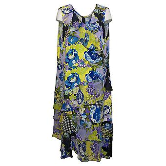 Susan Graver Plus Dress Liquid Knit w/ Sheer Chiffon Ruffles Blue A351037