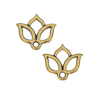TierraCast Pewter Charms, Open Lotus Design 13x14mm, 2 stykker, antik guld forgyldt