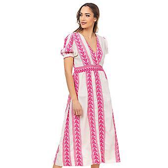 Etnische jurk met gekruiste hals en elastische taille