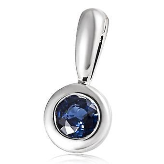 Guldmaid halsband med kvinnors hänge vitt guld runt safirblå 6 millimeter