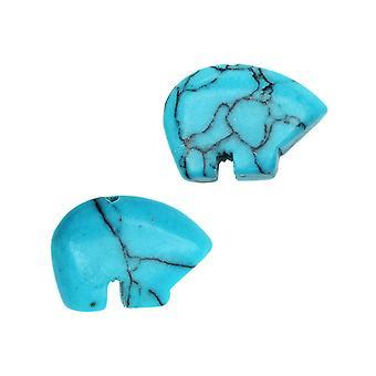 Jalokivihelmät, Värjätty magnesiitti, Karhu 10x14mm, 12 Kpl, Turkoosi Sininen