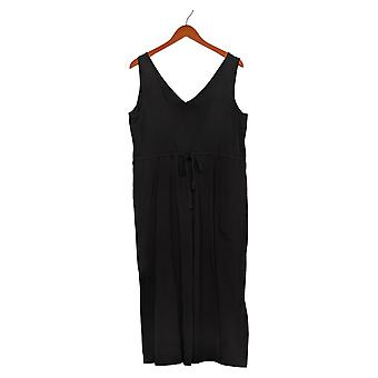 Anybody Petite Jumpsuits One-Piece Cozy Knit Wide Leg Back Tie Black A378003