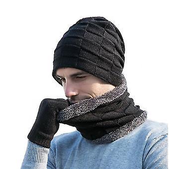 Yksikokoinen musta gemdeck 3 kpl neulottua hattukarkkia ja hansikassarja x6706