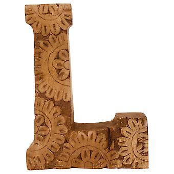 Letter L Hand Carved Wooden Flower