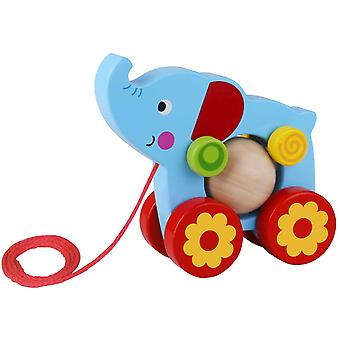 Elephant with Rolling Ball Wooden Pull Along Toy