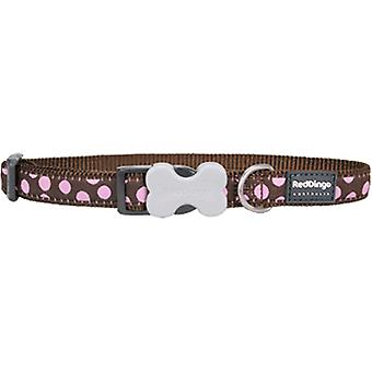 Red Dingo Nylon Spots Collar Brown and Pink