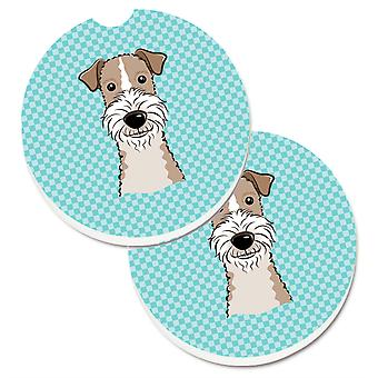 Caroline's Treasures Checkerboard Blue Wire Haired Fox Terrier Set di 2 Cup Holder Car Coasters BB1185CARC, 2.56, Multicolor