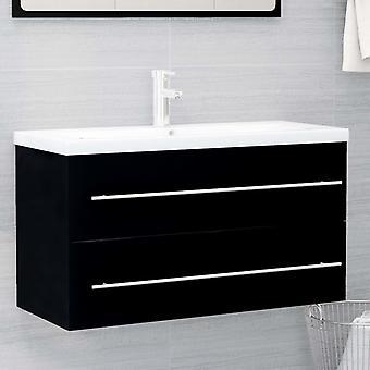 cabinet base lavabo vidaXL nero 90x38,5x48 cm truciolato