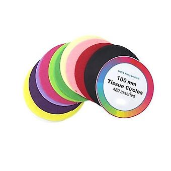 480 Assorted Colours Tissue Paper Circles for Kids Crafts - 100mm