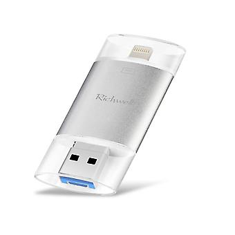 Richwell 3 in 1 128G Typ-C + 8 Pin + USB 3.0 Metall Doppelabdeckung Push-Pull Flash Disk mit OTG