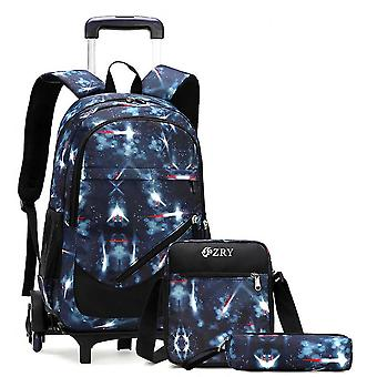 Trolley Schoolbag Men's Three-piece Detachable Backpack For Middle School Studentscolor-5