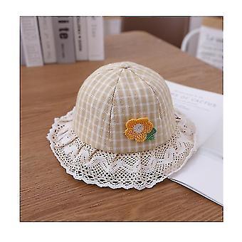 Adorable Baby Girls Floppy Hat Floral Embroidered Hollow Wide Brim Spf 50+ Hat(Beige)