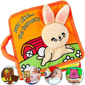Quality soft baby book first year, cloth book bunny with crinkly sounds, fun interactive toy