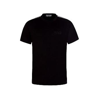 Versace Jeans Couture Reflective Tape And Front Logo Black/white T-shirt