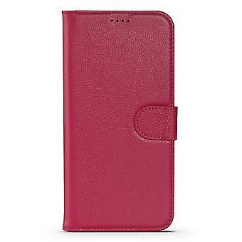 Til iPhone 13 Pro Max Case Fashion Cowhide Ægte Læder Tegnebog Cover Pink