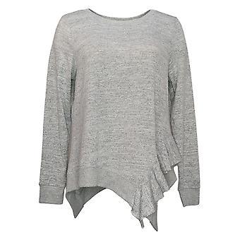 DG2 by Diane Gilman Women's Sweater Ruffle Side Knit Gray 686761