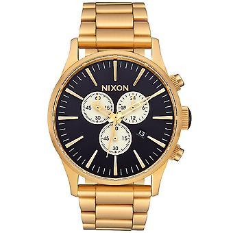 Nixon A386-2033 Homme Sentry Chronographe Indigo & Or Montre en Acier Inoxydable