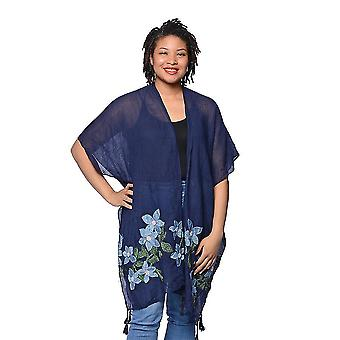 Navy Open Front Embroidered Floral Kimono Size 88x93cm
