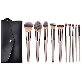 9/10pcs Champagne Makeup Brushes Set For Cosmetic Foundation Powder Blush Eyeshadow Kabuki Blending Make Up Brush Beauty Tool