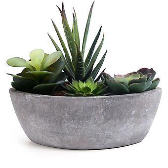 Kunstig saftig mørkegrønn båtform, Simulering Plante kunst plante Fake Bonsa