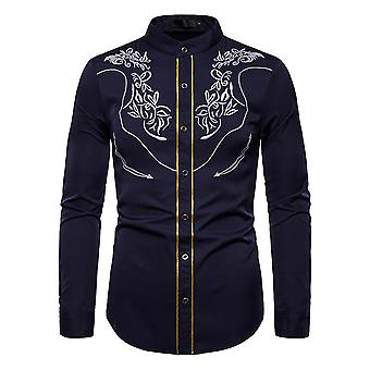 Men's Embroidered Stand Collar Long Sleeve Shirt