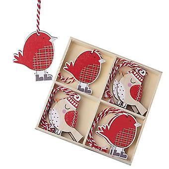 Heaven Sends Wooden Bird Christmas Tree Decorations