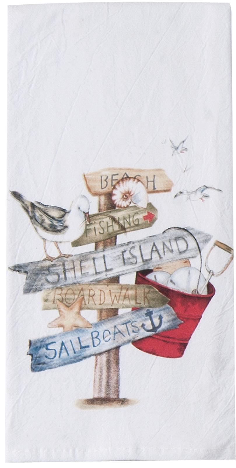 Beach Signs Shell Island Boardwalk Flour Sack 27 Inch Kitchen Dish Towel Kay Dee