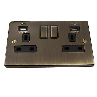 Causeway 2 Gang 13A DP Ingot Switched Socket + USB, Antique Brass