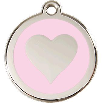 Red Dingo Nameplate Dog M - Pink Heart