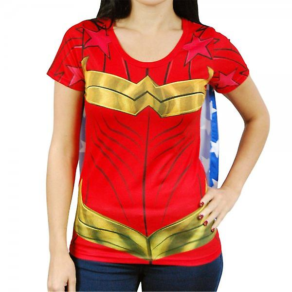 Wonder Woman Womens Wonder femme superhéros Costume T Shirt avec Cape rouge