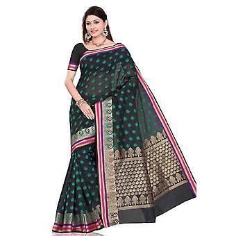 Sort med designer skulder drop kunst silke indiske sari bellydance wrap