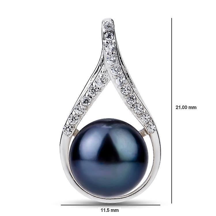 Affici Sterling Silver Pendant with Chain 18ct White Gold Plated ~ Black Freshwater Pearl