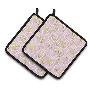 Gemoetric Circles on Pink Watercolor Pair of Pot Holders