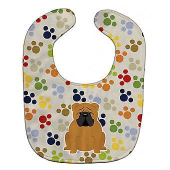 Carolines Treasures  BB5951BIB Pawprints English Bulldog Red Baby Bib