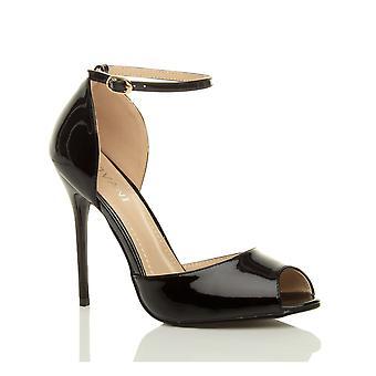 Ajvani kvinnors kväll part stiletto hög hälen ankel rem spänne sandaler peep toe domstolen skor