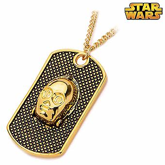 Star Wars Gold Plated C-3PO Dog Tag Pendant Necklace