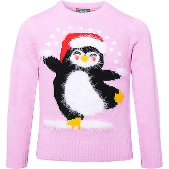Christmas Boys & Girls Eyelash Yarn Festive Penguin Jumper