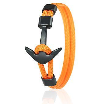 Kapitan kotwica bransoletka 21 cm nylon ramię Biżuteria pomarańczowy z czarnym kotwicy 6970