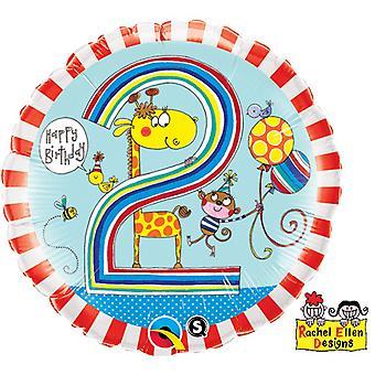 Qualatex 18 Inch gestreepte giraf & ontwerp met aap leeftijd 2 circulaire folie ballon