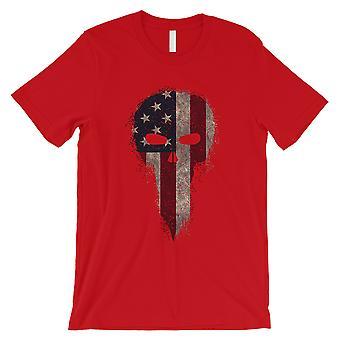 Vintage American Schädel Mens Rot T-Shirt lustig 4. Juli Shirt